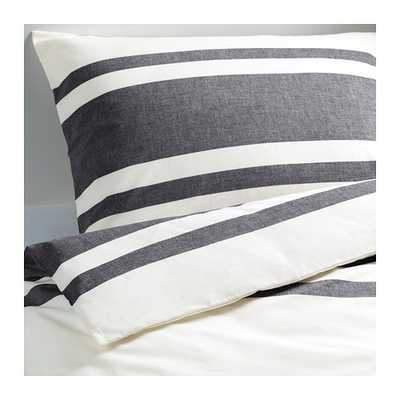 BJÖRNLOKA Duvet cover and pillowcase(s), black white, black - Ikea