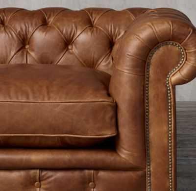 "96"" Petite Kensington Leather Sofa - RH"