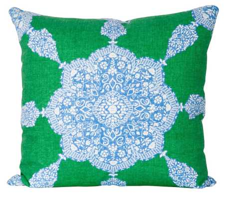 """Moroccan Medallion - Blue & Green - 22"""" x 22""""knife edge, down insert included - Society Social"""