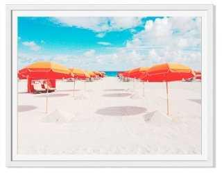"Natalie Obradovich, Orange Umbrellas - 24""W x 19""H - Framed - One Kings Lane"
