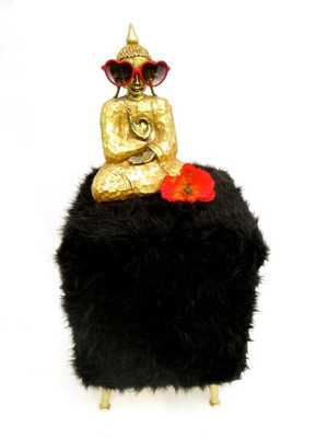 GLAM Black Faux Fur & Gold Tapered Legs Footstool | Pouf | Ottoman || Secret Storage - Etsy