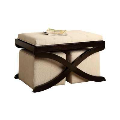 Elegant Upholstered 3 Piece Bench & Ottoman Set - Wayfair
