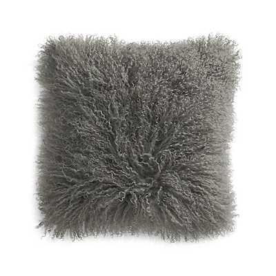 """Pelliccia Silver Grey 16"""" Mongolian Lamb Fur Pillow with Feather-Down Insert - Crate and Barrel"""