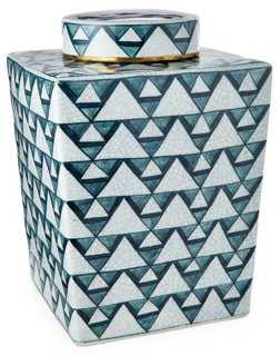"13"" Diamond Jar w/ Lid, Blue/White - One Kings Lane"