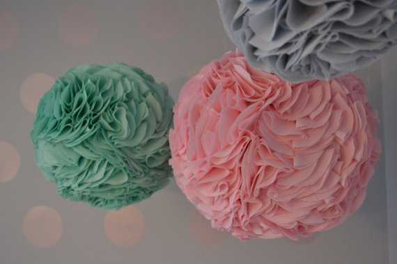 """Fabric Blooms: Set of THREE (one 11"""" and two 9"""") fabric poufs for nursery or playroom - Etsy"""