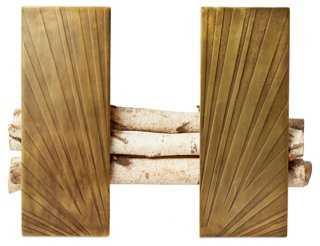 S/2 Deco Brass Andirons - One Kings Lane