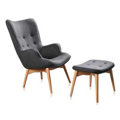 Huggy Mid Century Arm Chair & Ottoman Set - AllModern