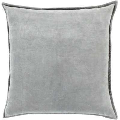 "Askern Smooth Velvet Cotton Throw Pillow -  Gray - 18"" x 18"" - Polyester Insert - Wayfair"