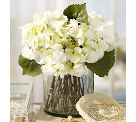 Faux Hydrangea Arrangement in Clear Glass Vase - Pottery Barn