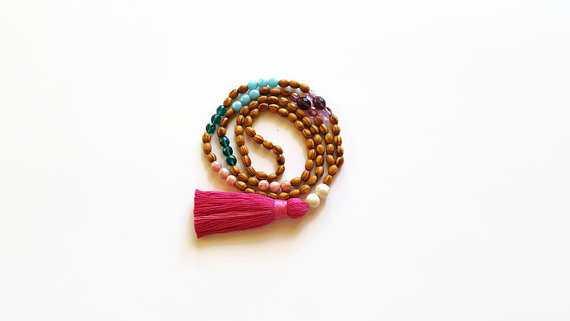 Hot pink tassel summer necklace - Etsy