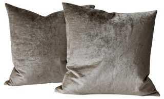 Gray Velvet Pillows, Pair - One Kings Lane
