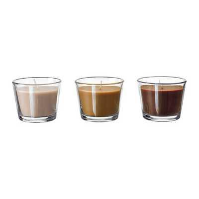 "BRÃ""CKA-Scented candle in glass, Chocolate fudge beige, beige - Ikea"