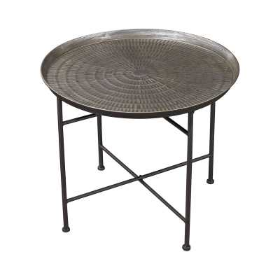 Embossed Pewter Accent Table - Rosen Studio