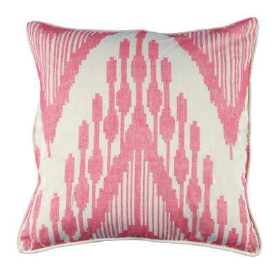 "Ikat Heartbeat Design Cotton Throw Pillow - 21"" H x 21"" W - Wayfair"