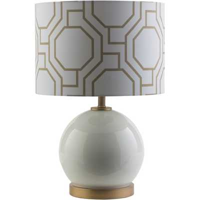 """White 19.25"""" H Table Lamp with Drum Shade - AllModern"""