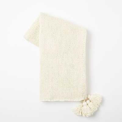 Cotton Tassel Throw - Ivory - West Elm