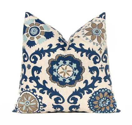 Navy Throw Pillow Covers - Rosa Pattern - 18 x 18 - Blue and Aqua - Insert Sold Separately - Etsy