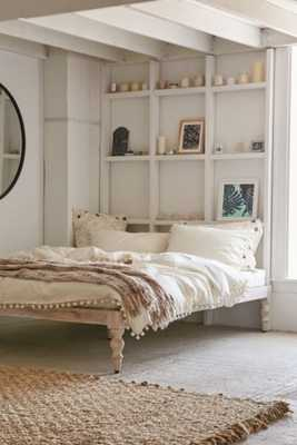 Bohemian Platform Bed - White; Queen - Urban Outfitters