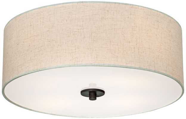 """Bronze with Off White Shade 18"""" Wide Ceiling Light Fixture - Lamps Plus"""