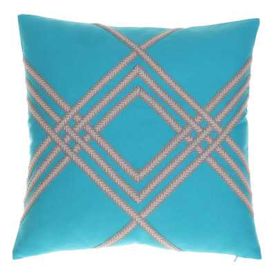"Lilli Throw Pillow- Teal- 20"" H x 20"" W- Feather down insert - Wayfair"