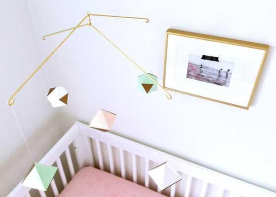 modern geometric mobile - mint white blush - Etsy