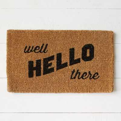Well Hello There Coir Doormat - West Elm