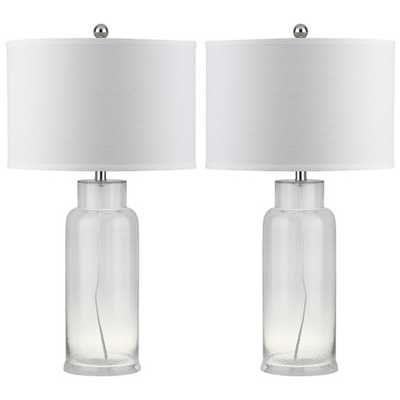 "Bottle 29"" H Table Lamp with Drum Shade - Clear - AllModern"