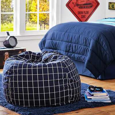 Navy + Cement Boxter Plaid Beanbag - Slip and insert - Pottery Barn Teen
