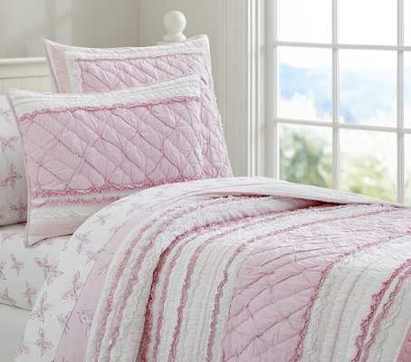 Brigette Ruffle Quilted Bedding - Quilt, Full - Pottery Barn Kids
