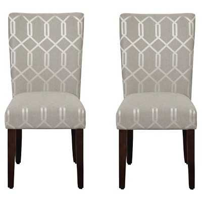 HomePop Parson Dining Chair Gray Lattice (Set of 2) - Target