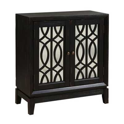 Hand Painted Distressed Ebony Black Finish Mirrored Accent Chest - Overstock
