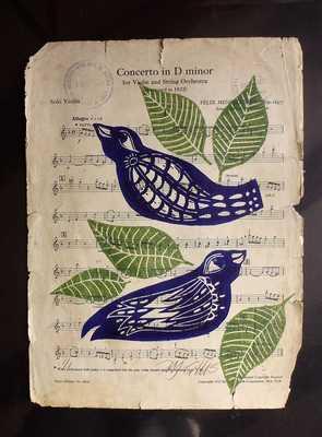 linocut, Concerto inDminor, sheet music - Etsy