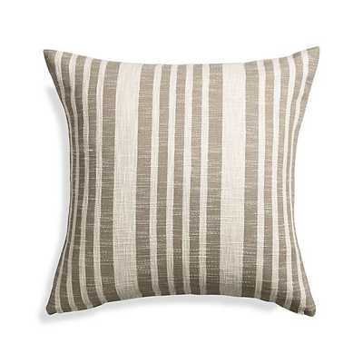 Celena Grey Stripe Pillow - 23x23, Feather Insert - Crate and Barrel