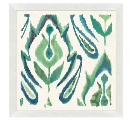 "BLUE AND AQUA COLORFUL PAINTERLY IKATS FRAMED PRINTS - 21"" sq. - Pottery Barn"