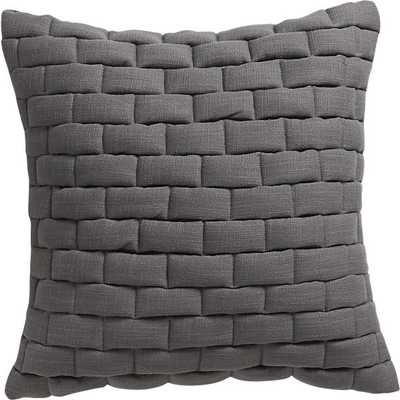 """Mason quilted grey 18"""" pillow- With insert - CB2"""