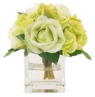 """6"""" Rose & Hydrangea in Cube Vase, Faux - One Kings Lane"""