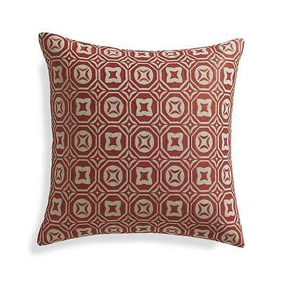 "Caro Orange 20"" Pillow with Feather-Down Insert - Crate and Barrel"