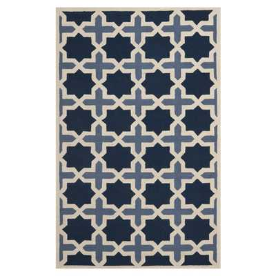 Cambridge Dark Blue & Ivory Area Rug - Wayfair
