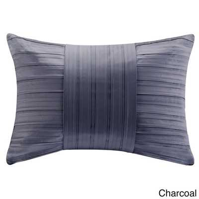 Madison Park Pleated Charmeuse Feather Down Filled Oblong Pillow - Overstock