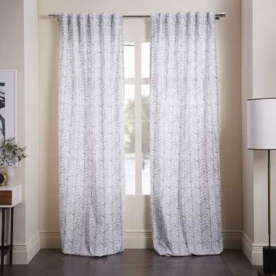 "Cotton Canvas Vine Leaves Curtain - Ash Blue - 96"" - West Elm"