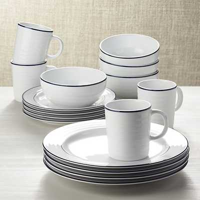 Roulette Blue Band 16-Piece Dinnerware Set - Crate and Barrel