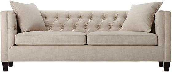 Lakewood Tufted Sofa - Long - Linen pearl - Home Decorators
