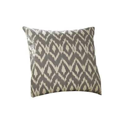 """Tara Ikat Cotton  18"""" Square Pewter Pillow Cover/insert sold separately - Birch Lane"""
