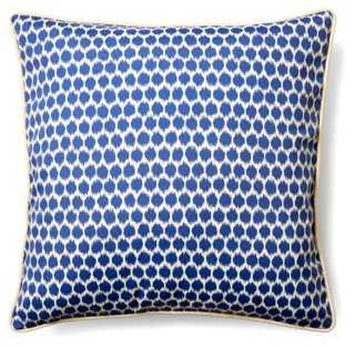 Honeycomb 20x20 Outdoor Pillow, Blue- Polyester insert - One Kings Lane