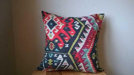Vintage inspired Kilim fabric navy blue orange red green gray tribal aztec aqua throw pillow cover - Etsy