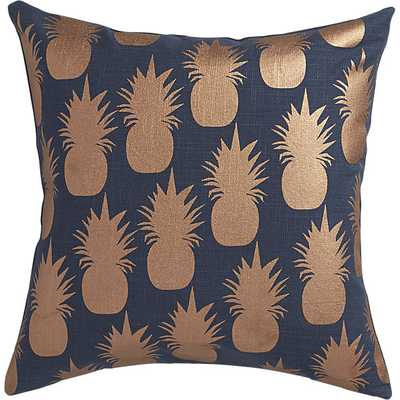 """Escape copper pineapples pillow 18""""sq., Navy, with Insert - CB2"""