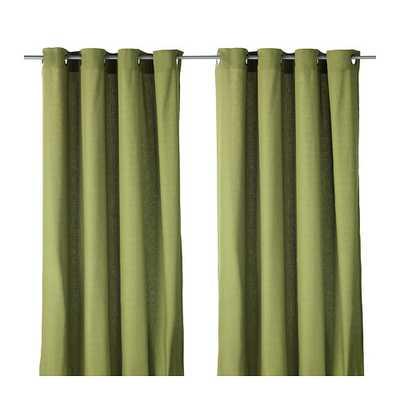 """MARIAM Curtains, 1 pair, green - 98"""" x 57"""" - Ikea"""