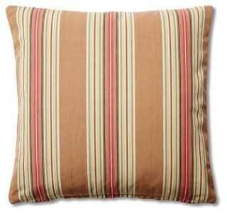 Stripe 20x20 Cotton Pillow, Khaki - One Kings Lane