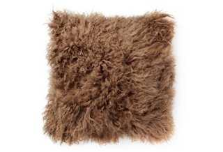 Mongolian Lamb 16x16 Pillow - Taupe - One Kings Lane