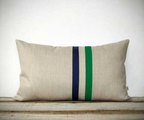 "Kelly Green and Navy Striped Pillow - 12""x20""-No Insert - Etsy"